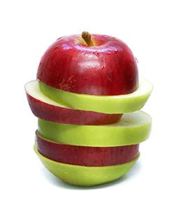 Manzana cortada a rodajas