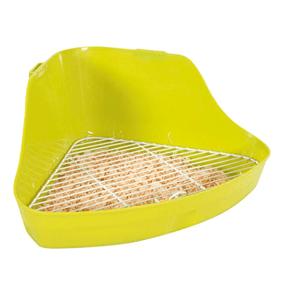 Esquinera o bandeja para conejos con rejilla